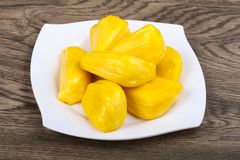 Jackfruit. Asian traditional Jackfruit seeds on the wood background Stock Images