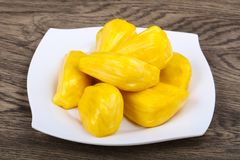 Jackfruit. Asian traditional Jackfruit seeds on the wood background Royalty Free Stock Photos