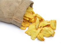 Jackfruit chip in sack. On white background Stock Images
