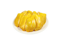 Jackfruit. Isolated jackfruit on white dish Royalty Free Stock Photography