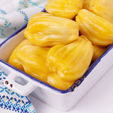 Jackfruit jakfruit, jack, jak in bowl. Tropical fruit Jackfruit jakfruit, jack, jak with blue towel in bowl. Selective focus Royalty Free Stock Image