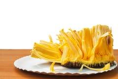 Jackfruit op de lijst met witte achtergrond royalty-vrije stock afbeeldingen