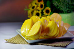 Jackfruit on plate Stock Photography
