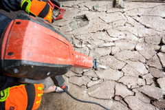 Jackhammer in action Stock Photos