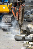 Jackhammer on building site Royalty Free Stock Images