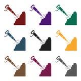Jackhammer icon in black style isolated on white background. Mine symbol stock vector illustration. Royalty Free Stock Images