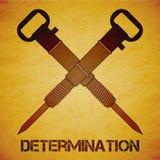 Jackhammers пересеченные вектором над оранжевой предпосылкой grunge Стоковая Фотография
