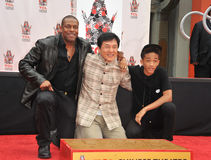 Jackie Chan & Chris Tucker & Jaden Smith. LOS ANGELES, CA - JUNE 6, 2013: Jackie Chan with Chris Tucker (left) & Jaden Smith at Chan's hand & footprint ceremony royalty free stock photo