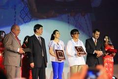 Jackie Chan et Zhang Ziyi aux jours chinois de film Image libre de droits