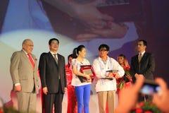 Jackie Chan et Zhang Ziyi aux jours chinois de film Photos libres de droits
