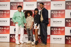 Jackie Chan and Will Smith Family. Tokyo Press Conference for Japan Premiere of Karate Kid (Best Kid Royalty Free Stock Images