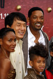 Jackie Chan, Will Smith, Jada Pinkett Smith, Jaden Smith and Willow Smith. Jada Pinkett Smith, Will Smith, Jackie Chan and Willow Smith at the Los Angeles stock photo