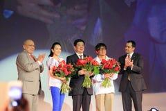 Jackie Chan y Zhang Ziyi en los días chinos de la película Fotografía de archivo libre de regalías
