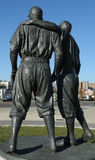 Jackie Robinson and  Pee Wee Reese Statue in Brooklyn in front of MCU ballpark Royalty Free Stock Images