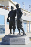 Jackie Robinson and Pee Wee Reese Statue in Brooklyn in front of MCU ballpark Stock Photos