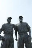 Jackie Robinson and Pee Wee Reese Statue in Brooklyn in front of MCU ballpark. BROOKLYN, NY - APRIL 9: Jackie Robinson and Pee Wee Reese Statue in Brooklyn in Stock Photo