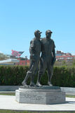 Jackie Robinson and Pee Wee Reese Statue in Brooklyn Stock Photos