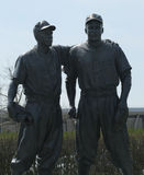 Jackie Robinson and Pee Wee Reese Statue in front of MCU ballpark in Brooklyn Stock Image