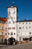 Jacklturm tower on the central square Stadtplatz of Traunstein, Bavaria, Germany. Traunstein, Germany - April 8, 2018: Jacklturm tower on the central square stock photo