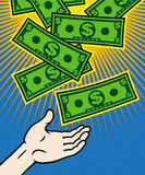 Jackpot. Money from heaven,  illustration Stock Images