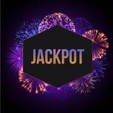Jackpot advertisement template banner vector illustration. Fireworks bursting in various shapes and colors, sparkling. Lights against black background poster royalty free illustration
