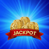 Jackpot Background Vector. Golden Casino Treasure. Winner Concept Illustration. Gold Coins. Jackpot Background Vector. Golden Casino Treasure. Big Win Banner For Royalty Free Stock Images
