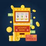 Jackpot bank slot machine. One arm gambling device. Lucky, success. Jackpot bank slot machine. One arm gambling device. Lucky, success, financial growth, money stock illustration