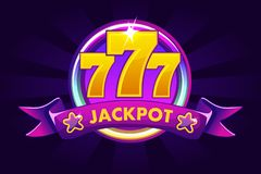 JACKPOT banner background for casino, slot icon with ribbon and 777. Vector illustration. JACKPOT banner background for lottery or casino, slot icon with ribbon vector illustration
