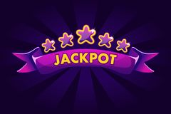 JACKPOT banner background for lottery or casino, slot gambling icons with ribbon and stars. Vector illustration vector illustration
