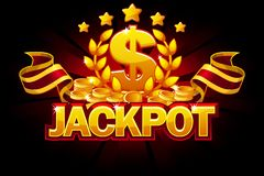Jackpot banner with dollar sign and red ribbon. Casino awards and coin. Vector icons on separate layers. Jackpot banner with dollar sign and red ribbon. Casino royalty free illustration