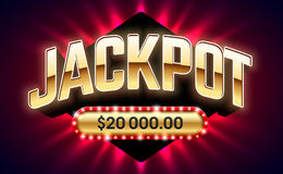 Jackpot banner. Jackpot, gambling game bright banner with winning. Casino or lottery advertising template vector illustration