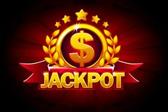 Jackpot banner with red ribbon and text. Vector illustration for casino, slots, roulette and game UI. Big Win banner with red ribbon and text. Vector stock illustration
