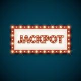 Jackpot banner with retro luminous frame vector illustration stock illustration