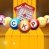 Jackpot bingo balls over golden steps Royalty Free Stock Images