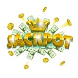 Jackpot casino banner. Colorful objects as a coins, banknotes and huge letter signs. Can be used as an announcement game banner stock illustration