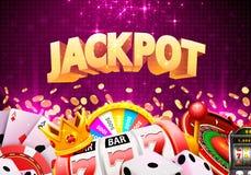 Jackpot casino big win. Jackpot casino big win collage banner. Vector illustration vector illustration