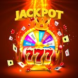 Jackpot casino 777 slots and fortune king banner. Jackpot casino 777 big win slots and fortune king banner. Vector illustration royalty free illustration