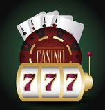 Jackpot and casino design. Casino design with jackpot and poker cards over green background, colorful design. vector illustration vector illustration