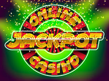 Jackpot casino lettering. Online casino jackpot lettering. Gold letters on the roulette, gold money fall and lightspot background Stock Photo