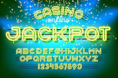 Jackpot casino Neon Font Stock Image