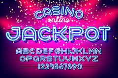Jackpot casino Neon Font Stock Images