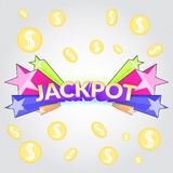 Jackpot casino. Sign. Cartoon gamble winning symbol with star blast and falling coins money royalty free illustration