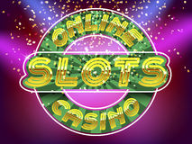 Jackpot casino slots. Online casino slots lettering. Gold Alphabet Vector Font. Letters on the gold money fall and lightspot background royalty free illustration