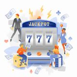 Jackpot Casino with Tiny People Characters. Vector illustration of tiny people caracters over casino slot machine with a jackpot 777 on a screen stock illustration