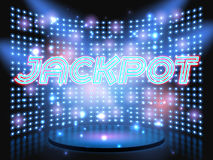 Jackpot casino win lettering stage Stock Photo
