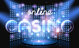 Jackpot casino win lettering stage Royalty Free Stock Photos