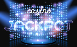 Jackpot casino win lettering stage Royalty Free Stock Photo