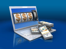 Jackpot. 3d illustration of laptop with money, jackpot concept Royalty Free Stock Photos
