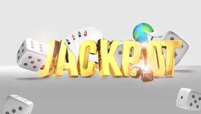 Jackpot 3d render golden design.  vector illustration