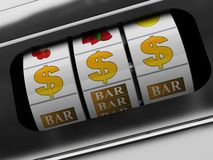 Jackpot da máquina de entalhe Fotografia de Stock Royalty Free